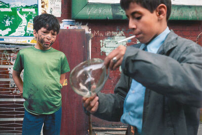 Helen Levitt, 'N.Y.C. boy and bubble)', 1972
