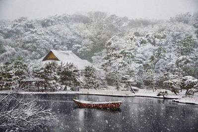 Steve McCurry, 'Boat Covered in Snow in Sankei-en Gardens, Yokohama, Japan', 2014