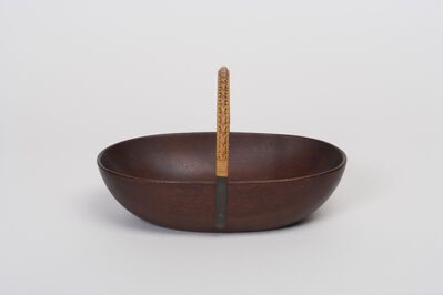 Carl Auböck, 'Wooden Bowl with Wicker Handle', 1950s