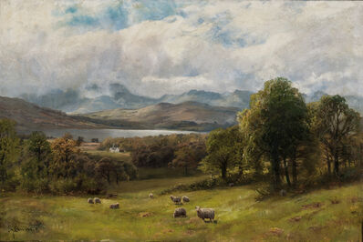 James Henry Crossland, 'Valley Landscape with Sheep at Pasture'