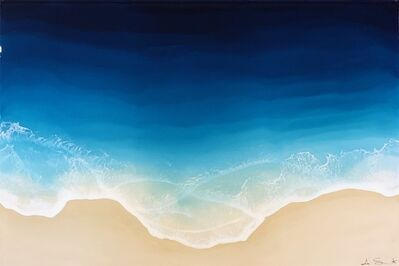 """Anna Sweet, '""""Beyond the Sea"""" Mixed Media painting of aerial view of deep blue ocean', 2019"""