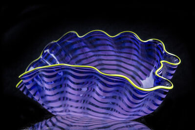 Dale Chihuly, 'Dale Chihuly Large Violet Purple Seaform with Chartreuse Lip Wrap Contemporary Art ', 1992