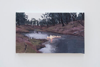 Roger White, 'Touristic Scene with Burning River', 2017