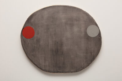 Otis Jones, 'Red Oxide and Gray Circles on Black Wash', 2020