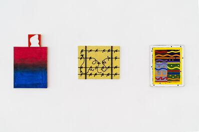 Sean Montgomery, '  #1. Reason and Passion (Joyce Wieland) #2. Adjust a Red to a…/ Ajuster un rouge pour un.. acrylique, crayon sur toile sur un faux cadre et acrylique sur bois / acrylic, crayon on canvas and acrylic on wood  #3. Crossing the Desert / Traverser le désert                             ', 2018