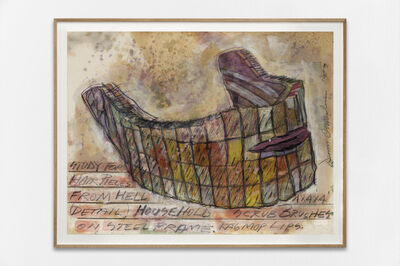 Dennis Oppenheim, 'Study for hair pieces from Hell. Detail: Household scrub brushes on steel frame rag mop lips', 1993
