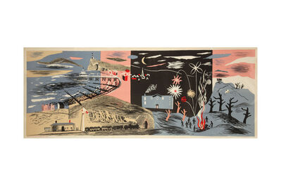 John Piper, C.H., ' Nursery Frieze Part II, Night scene lithograph'