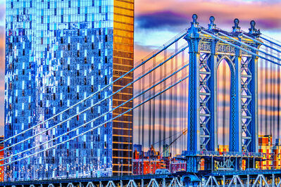 Mitchell Funk, 'Manhattan Bridge from Brooklyn in Blue and Gold', 2019