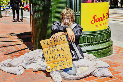 Mitchell Funk, 'Homeless Man on Market Street San Francisco', 2019