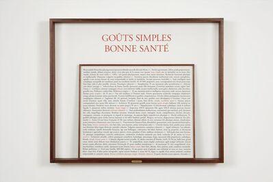 Sophie Calle, 'Goûts simples', 2017