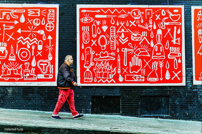 Mitchell Funk, 'Red Wall. Red Pants. Street Art with Local Tenderloin, San Francisco', 2918
