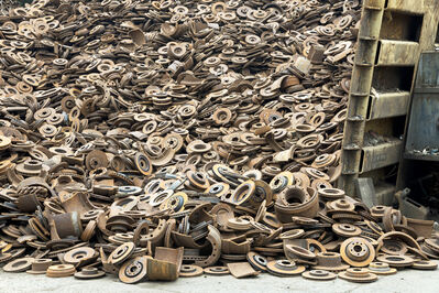 Paul Bulteel, 'Steel disk brakes, obtained from dismantling discarded cars, going to steel mills for reprocessing into new steel.', 2015