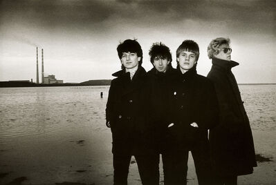 Sheila Rock, 'U2 for their 2nd single, '11 O'Clock Tick Tock', Sandymount Strand, Dublin, Ireland', 1980