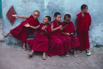 Steve McCurry, 'Young Monks Play Computer Games, India', 2001