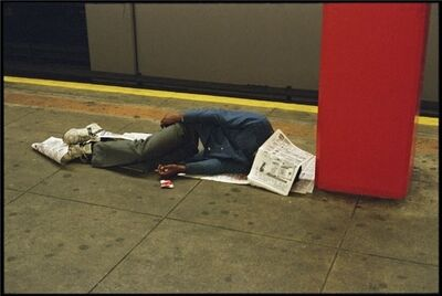 Clayton Patterson, 'Untitled (homeless with newspaper)'