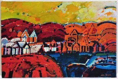 Luis Barragán, 'Paisaje de la Rioja Argentinian Modernist Concretist Cubist Oil Painting', 1970-1979
