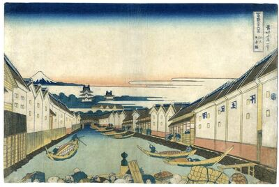Katsushika Hokusai, 'Thirty-Six Views of Mt. Fuji, Nihombashi Bridge in Edo', ca. 1830 -1834