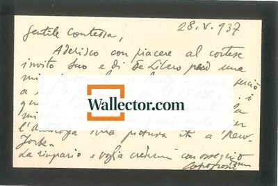 Giuseppe Capogrossi, 'Autograph Note by Capogrossi', 1937