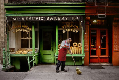 Steve McCurry, 'A man sweeps outside a bakery, New York, NY, USA', 1996