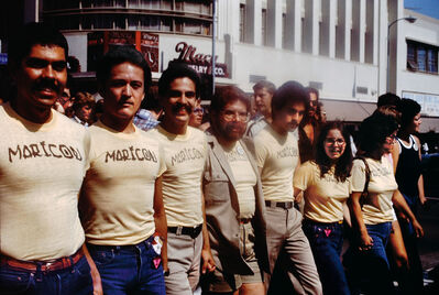 Joey Terrill, 'Participants in the Christopher Street West Pride parade wearing Joey Terrill's malflora and maricón T-shirts', 1976