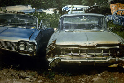 John Salt, 'Two Chevies in a Wreck Yard', 1976