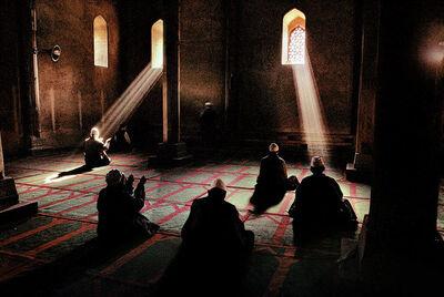 Steve McCurry, 'Men praying in a mosque, Srinagar, Kashmir', 1998