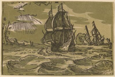 Hendrik Goltzius, 'Seascape with Two Sailing Vessels'