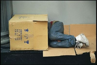 Clayton Patterson, 'Untitled (homeless man in box)'