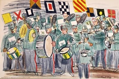 Raoul Dufy, 'Raoul Dufy School Prints Colorful Modernist Drawing Lithograph Marching Band', 1940-1949