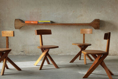 Pierre Chapo, 'Set of six S34 Dining Chairs in Solid Elm', 1960s