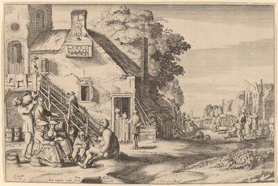 Jan van de Velde II, 'Spring (Village Fair before an Inn)', 1617