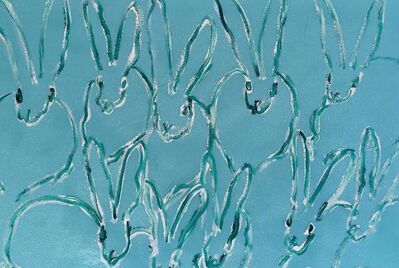 Hunt Slonem, 'White Outline Bunnies on Aqua Blue', 2015