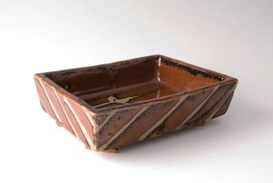 Shōji Hamada, 'Rectangular dish, kaki glaze with wax resist brushwork'