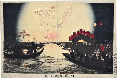 Kobayashi Kiyochika 小林清親, 'Fireworks at Ryogoku', ca. 1880