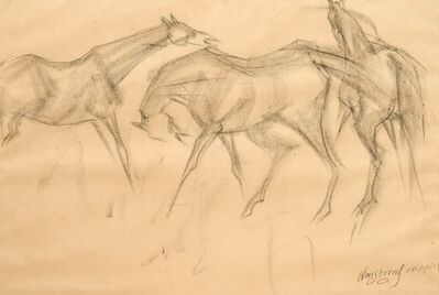 """Sunil Das, 'Early Horses VI, Charcoal Drawing, Brown, Black by Master Indian Artist """"In Stock""""', 1959"""