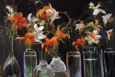 Clarice Smith, 'Floral (Orange and White Lilies in Glass Vases)', 1985