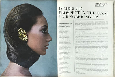 Eduardo Costa, 'Fashion Fiction I, Vogue Magazine, February 1st,1968. Open on spread of Eduardo Costa's Fashion Fiction I, (Gold Ear), photogrphed by Richard Avedon, model Marisa Berenson and text by Lawrence Alloway, pages 170-171.', 1968