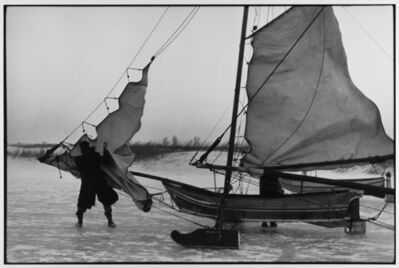 Leonard Freed, 'Rigging ice boat sails on the Yzer Meer Holland ', 1964
