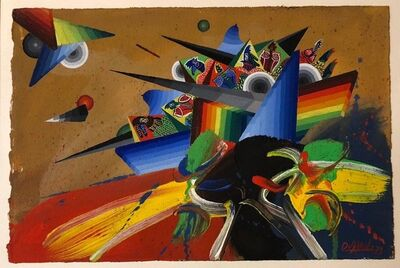 Georges Dussau, 'French Surrealist Colorful Futurist Abstract Painting Composition IV', 20th Century