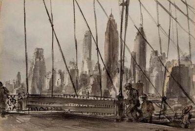"Reginald Marsh, 'Reginald Marsh ""Brooklyn Bridge"" NYC Modernism WPA Mid-Century Watercolor Modern', 1940"