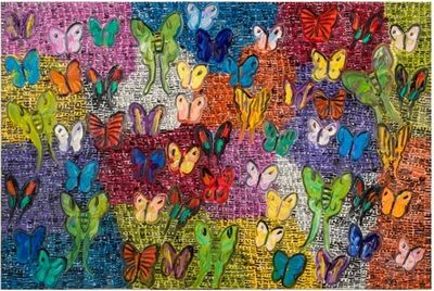 Hunt Slonem, 'Purple Guardians and Butterflies ', 2020