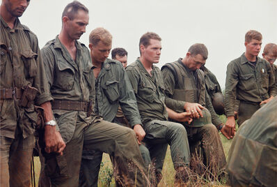 Larry Burrows, 'Men of the 2nd Battalion, 5th Marines, in prayer, October 1966', 1966