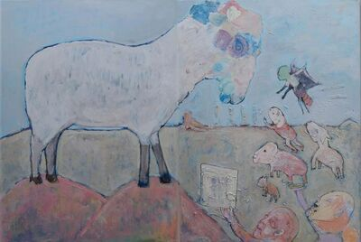 Airom, 'Leader Sheep, Diptych', ca. 2010