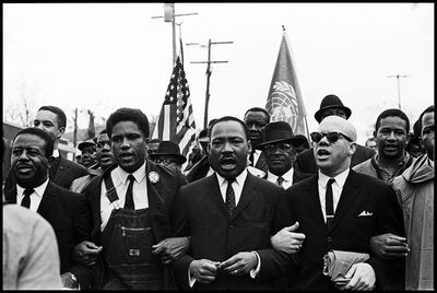 Spider Martin, 'Dr. King leads the Freedom March along with Ralph Abernathy, James Forman and Reverend Jessie Douglas around the State Capitol in Montgomery in protest of unfair treatment of African Americans and voter discrimination.', 1965