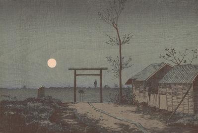 Kobayashi Kiyochika 小林清親, 'Before Tarō Inari Shrine at the Asakusa Ricefields', Meiji era-1881