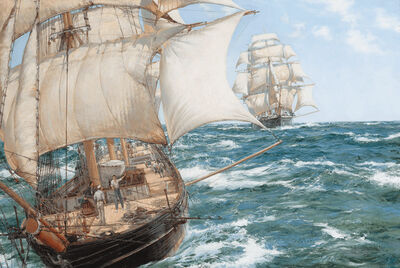 Montague Dawson, 'Racing Home, the China Clippers Chrysolite and Stornoway Almost Neck-and-Neck'