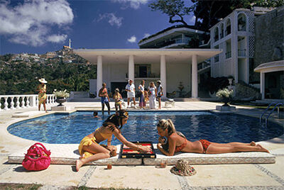 Slim Aarons, 'Poolside Backgammon, 1972: Guests at Villa Nirvana in Las Brisas, Acapulco, Mexico', 1972