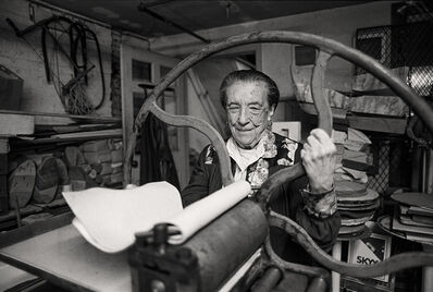Louise Bourgeois, 'Louise Bourgeois at the printing press in the lower level of her home/studio on 20th Street, New York', 1995