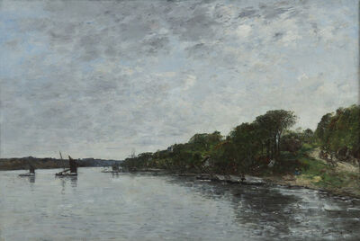 Eugène Boudin, 'Rivière en Bretagne', 1870