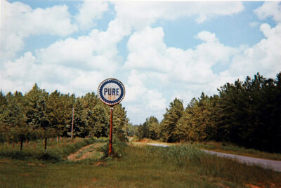 William Christenberry, 'Pure Oil Sign in Landscape, Near Marion, Alabama, 1977', 1977